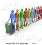 Clip Art of a 3d Line of Diverse Colorful People Holding Ballots and Waiting for Their Turn to Vote by 3poD