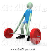Clip Art of a 3d Man Stretching His Arms While Trying to Lift a Barbell Weight by 3poD
