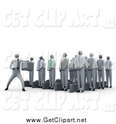 Clip Art of a 3d Martial Arts Business Team Learning Tricks by 3poD