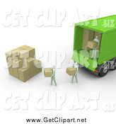 Clip Art of a 3d Movers Unloading Boxes from a Truck by 3poD