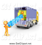 Clip Art of a 3d Moving Truck and Orange Movers by 3poD