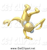 Clip Art of a 3d Music Note Headed Gold Man Wearing Headphones and Doing a Cartwheel by 3poD