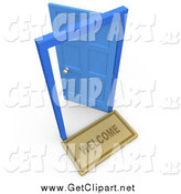 Clip Art of a 3d Open Blue Door, Symbolizing Future and Opportunities by 3poD