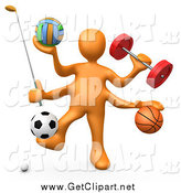 Clip Art of a 3d Orange Athlete with Sports Gear by 3poD
