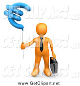 Clip Art of a 3d Orange Business Guy Holding a Euro Balloon by 3poD