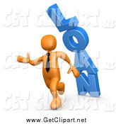 Clip Art of a 3d Orange Business Guy Running from the Toppling Blue Word LOAN by 3poD