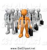 Clip Art of a 3d Orange Business Man Boss a Group of Gray Men by 3poD