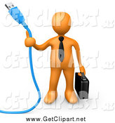 Clip Art of a 3d Orange Business Man Holding a Blue Usb Cable by 3poD