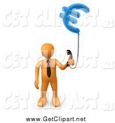 Clip Art of a 3d Orange Business Man Holding a Euro Phone by 3poD