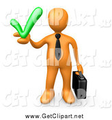 Clip Art of a 3d Orange Business Man Holding a Green Accepted Check Mark by 3poD