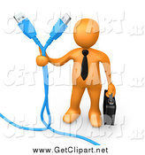 Clip Art of a 3d Orange Business Man Holding Two Blue Computer Cables by 3poD