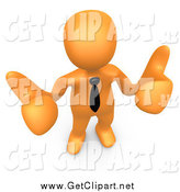 Clip Art of a 3d Orange Business Man Holding Two Thumbs up by 3poD
