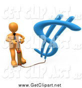 Clip Art of a 3d Orange Business Man Inflating a Dollar Symbol with an Air Pump by 3poD