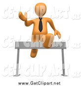 Clip Art of a 3d Orange Business Man Leaping over a Hurdle by 3poD