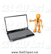 Clip Art of a 3d Orange Business Man Presenting a Giant Laptop by 3poD