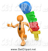 Clip Art of a 3d Orange Business Man Running Away from a Stack of DEBT Falling Behind Him by 3poD