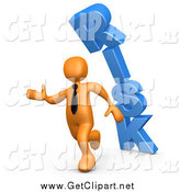 Clip Art of a 3d Orange Business Man Running from the Blue Word RISK Falling over by 3poD