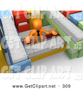 Clip Art of a 3d Orange Business Man Shrugging and Surrounded by Long Filing Cabinet Drawers by 3poD