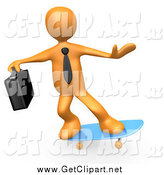 Clip Art of a 3d Orange Business Man Skateboarding by 3poD