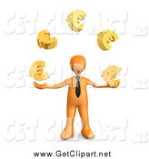 Clip Art of a 3d Orange Business Man Standing and Juggling Golden Euro Signs, Symbolizing Success by 3poD