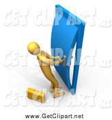 Clip Art of a 3d Orange Business Man Struggling to Open a Stuck Door by 3poD