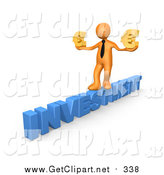 Clip Art of a 3D Orange Business Man Walking Across the Blue Word INVESTMENT and Carrying Two Golden Euro Signs in His Hands by 3poD