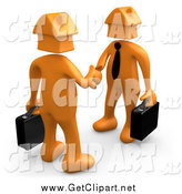 Clip Art of a 3D Orange Business Men with House Heads, Shaking Hands by 3poD