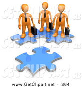 August 12nd, 2016: Clip Art of a 3d Orange Business People Standing on Connected Puzzle Pieces, Looking at a New Piece by 3poD