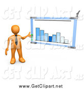 Clip Art of a 3d Orange Businessman Discussing a Bar Graph Chart During a Meeting by 3poD