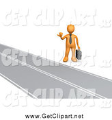 Clip Art of a 3d Orange Businessman Hitchhiking Roadside by 3poD
