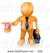 Clip Art of a 3d Orange Businessman Holding out a Try Me Button, Looking for a Job by 3poD