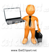 Clip Art of a 3d Orange Businessman Holding up a Laptop and Carrying a Briefcase by 3poD