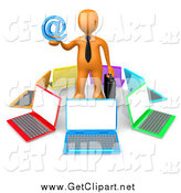 Clip Art of a 3d Orange Businessman in a Circle of Laptops, Holding out an Email Symbol by 3poD