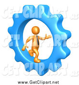 Clip Art of a 3d Orange Businessman Running in a Blue Cog Wheel by 3poD