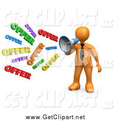 Clip Art of a 3d Orange Businessman Shouting OFFER Through a Megaphone, Symbolizing Job Opportunities and Sales by 3poD