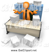 Clip Art of a 3d Orange Businessman Shrugging with Stacks of Papers at His Desk by 3poD