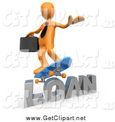 Clip Art of a 3d Orange Businessman Skateboarding over the Word Loan by 3poD