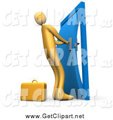 Clip Art of a 3d Orange Businessman, Struggling to Yank Open a Door by 3poD
