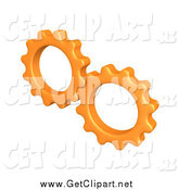 Clip Art of a 3d Orange Cogs Turning Gears Together by 3poD