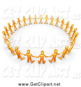Clip Art of a 3d Orange Group Holding Hands and Standing in a Circle by 3poD