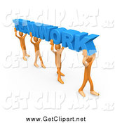 Clip Art of a 3d Orange Group of People Carrying Blue TEAMWORK by 3poD