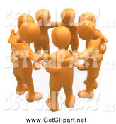 Clip Art of a 3d Orange Group of People in a Huddle by 3poD