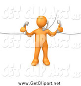 Clip Art of a 3d Orange Guy Handling Three Customer Service Lines and Multi Tasking at the Office by 3poD
