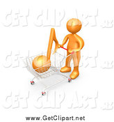 Clip Art of a 3d Orange Guy Pushing a Shopping Cart with an Orange Music Note, Mp3 Music Downloads by 3poD
