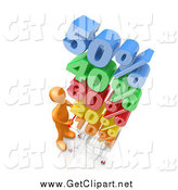 Clip Art of a 3d Orange Guy Pushing a Shopping Cart with Stacked Colorful Discounts up to 50 Percent by 3poD