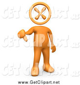 Clip Art of a 3d Orange Guy with an X Head, Giving the Thumbs down by 3poD