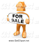 Clip Art of a 3d Orange House Headed Man Holding a for Sale Sign by 3poD