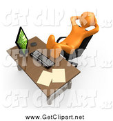 Clip Art of a 3d Orange Lazy Employee by 3poD