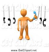 Clip Art of a 3d Orange Man Answering Multiple Calls by 3poD