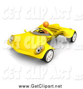 Clip Art of a 3d Orange Man Driving a Futuristic Yellow Convertible Car by 3poD